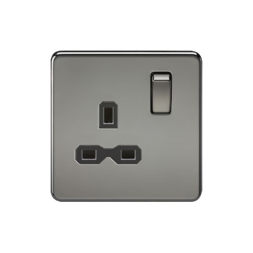 Knightsbridge Black Nickel 13A Single Switched Socket SFR7000BN