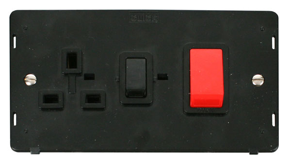 Click Definity 45A DP Cooker Switch with 13A Socket SIN204BK