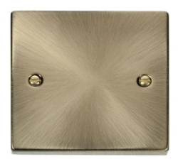 Click Deco Antique Brass 1 Gang Blank Plate VPAB060