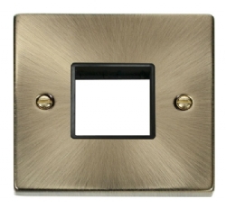 Click Deco Antique Brass Single Plate 2 Gang Aperture VPAB402BK