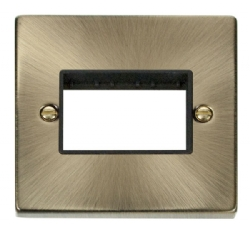 Click Deco Antique Brass Single Plate 3 Gang Aperture VPAB403BK