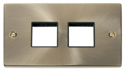 Click Deco Antique Brass Double Plate 4 Gang Aperture VPAB404BK