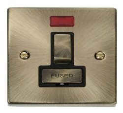 Click Deco Antique Brass Switched Fused Spur with Neon VPAB752BK