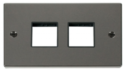 Click Deco Black Nickel Double Plate 4 Gang Aperture VPBN404BK