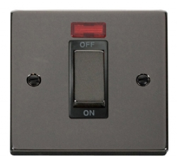 Click Deco Black Nickel 1 Gang 45A DP Switch + Neon VPBN501BK