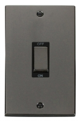 Click Deco Black Nickel 2 Gang 45A Vertical DP Switch VPBN502BK