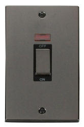 Click Deco Black Nickel 2G 45A Vertical DP Switch Neon VPBN503BK