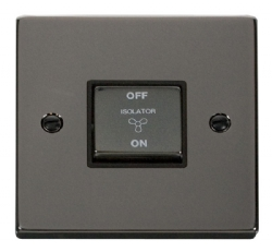 Click Deco Black Nickel 3 Pole Fan Isolator Switch VPBN520BK