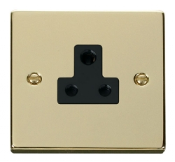 Click Deco Polished Brass 5A Single Round Pin Socket VPBR038BK