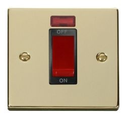 Click Deco Polished Brass 1 Gang 45A DP Switch + Neon VPBR201BK