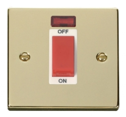 Click Deco Polished Brass 1 Gang 45A DP Switch + Neon VPBR201WH