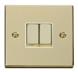 Click Deco Polished Brass 2 Gang 2 Way Switch VPBR412WH