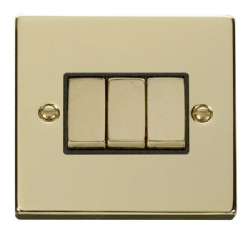 Click Deco Polished Brass 3 Gang 2 Way Switch VPBR413BK