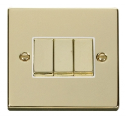 Click Deco Polished Brass 3 Gang 2 Way Switch VPBR413WH