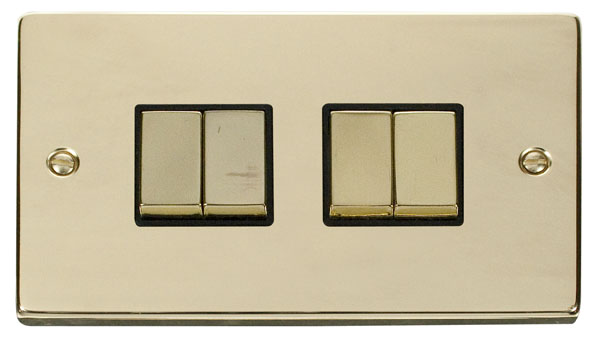 Click Deco Polished Brass 4 Gang 2 Way Switch VPBR414BK