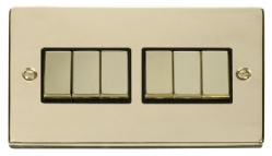 Click Deco Polished Brass 6 Gang 2 Way Switch VPBR416BK