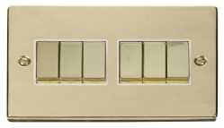 Click Deco Polished Brass 6 Gang 2 Way Switch VPBR416WH