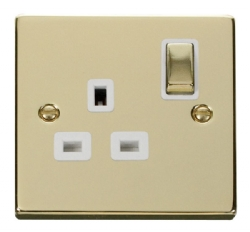 Click Deco Polished Brass 13A Single Switched Socket VPBR535WH