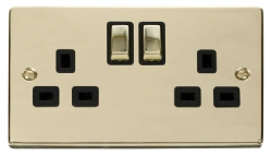 Click Deco Polished Brass 13A Double Switched Socket VPBR536BK