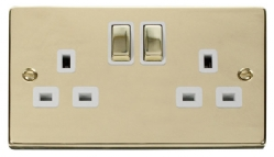 Click Deco Polished Brass 13A Double Switched Socket VPBR536WH