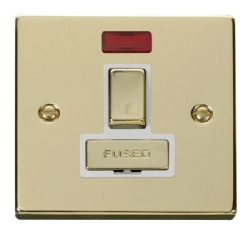 Click Deco Polished Brass Switched Fused Spur + Neon VPBR752WH