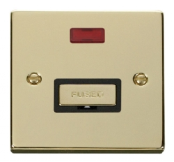 Click Deco Polished Brass Unswitched Fused Spur + Neon VPBR753BK