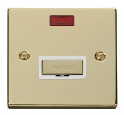 Click Deco Polished Brass Unswitched Fused Spur + Neon VPBR753WH