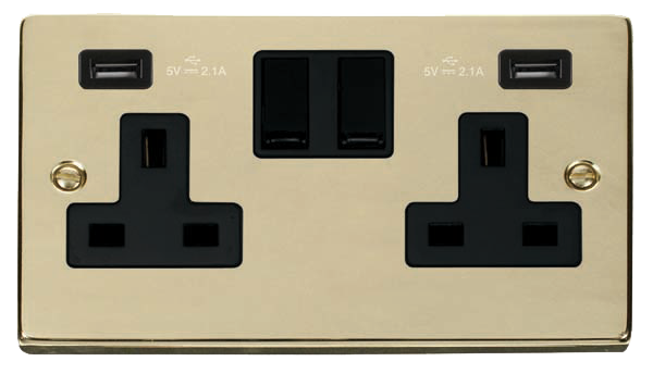 Click Deco Polished Brass Twin USB Double Socket VPBR780BK