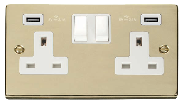 Click Deco Polished Brass Twin USB Double Socket VPBR780WH