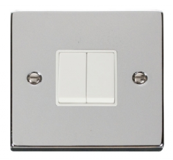 Click Deco Polished Chrome 2 Gang 2 Way Switch VPCH012WH