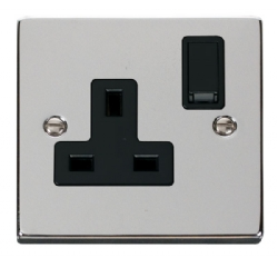 Click Deco Polished Chrome 13A Single Switched Socket VPCH035BK