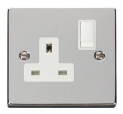 Click Deco Polished Chrome 13A Single Switched Socket VPCH035WH