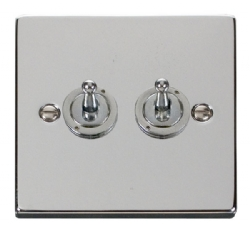Click Deco Polished Chrome 2 Gang 2 Way Toggle Switch VPCH422