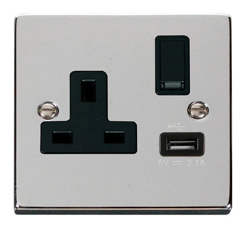 Click Deco Polished Chrome USB Single Switched Socket VPCH771BK