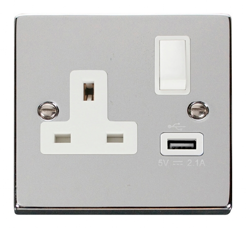 Click Deco Polished Chrome USB Single Switched Socket VPCH771WH