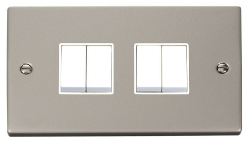 Click Deco Pearl Nickel 4 Gang 2 Way Switch VPPN019WH