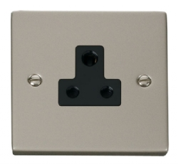 Click Deco Pearl Nickel 5A Single Round Pin Socket VPPN038BK