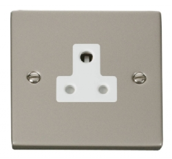 Click Deco Pearl Nickel 5A Single Round Pin Socket VPPN038WH