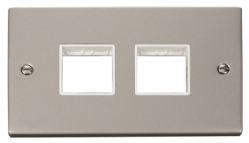 Click Deco Pearl Nickel Double Plate 4 Gang Aperture VPPN404WH