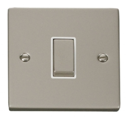 Click Deco Pearl Nickel 1 Gang 2 Way Switch VPPN411WH