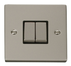 Click Deco Pearl Nickel 2 Gang 2 Way Switch VPPN412BK