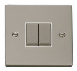 Click Deco Pearl Nickel 2 Gang 2 Way Switch VPPN412WH