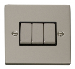 Click Deco Pearl Nickel 3 Gang 2 Way Switch VPPN413BK