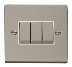 Click Deco Pearl Nickel 3 Gang 2 Way Switch VPPN413WH