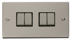 Click Deco Pearl Nickel 4 Gang 2 Way Switch VPPN414BK