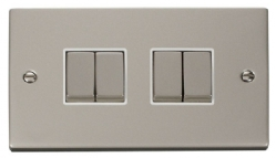 Click Deco Pearl Nickel 4 Gang 2 Way Switch VPPN414WH