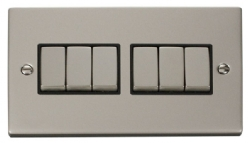 Click Deco Pearl Nickel 6 Gang 2 Way Switch VPPN416BK