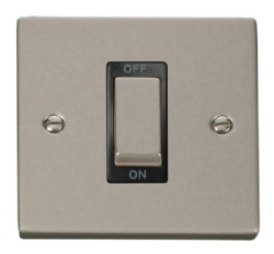 Click Deco Pearl Nickel 1 Gang 45A Double Pole Switch VPPN500BK