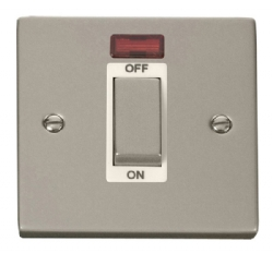 Click Deco Pearl Nickel 1 Gang 45A DP Switch + Neon VPPN501WH