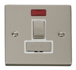 Click Deco Pearl Nickel Switched Fused Spur with Neon VPPN752WH